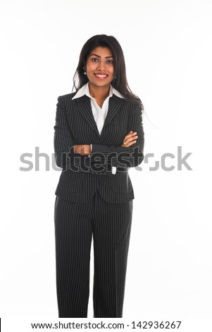 indian female business woman isolated in white background - stock photo