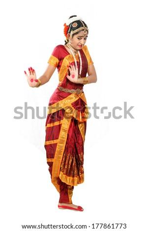 Indian female performing Bharathanatyam doing the action of  bhibhatsya or disgust - stock photo