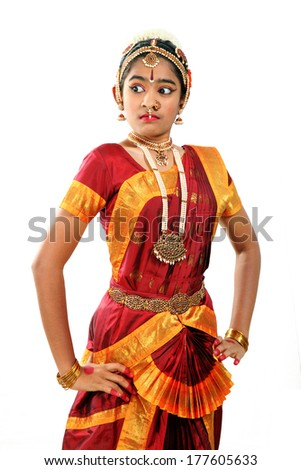 Indian female performing Bharathanatyam  doing the action of valour or veera - stock photo