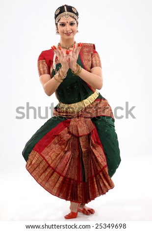indian female performing dance - stock photo