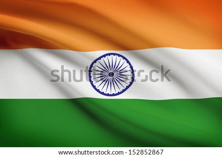 Indian flag blowing in the wind. Part of a series. - stock photo