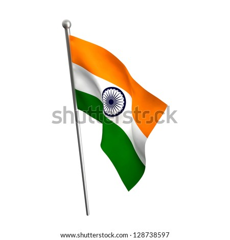 indian flag isolated on white - stock photo