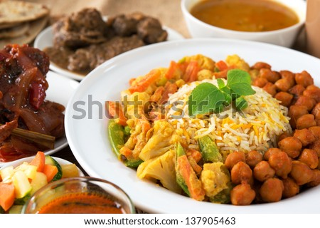 Indian food biryani rice and curry. - stock photo