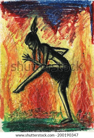 Indian girl dancing in front of fire. Ritual dancer. Pastel drawing - stock photo