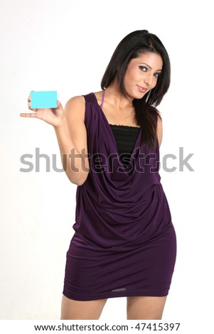 Indian girl with blue blank credit card - stock photo