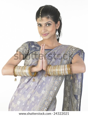 Indian girl with inviting expression - stock photo