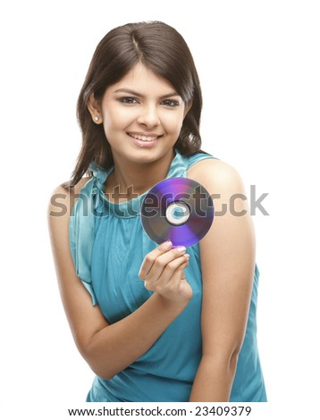 Indian girl with the cd - stock photo