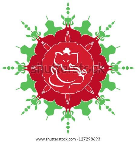 Indian God Ganesha design on artistic flower - stock photo