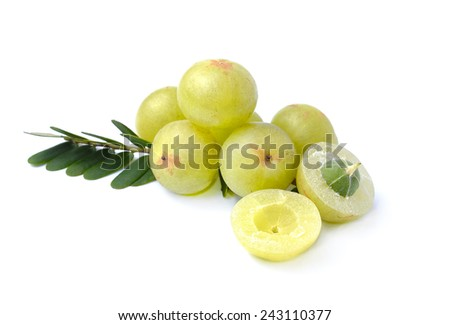 Indian gooseberries on white background - stock photo