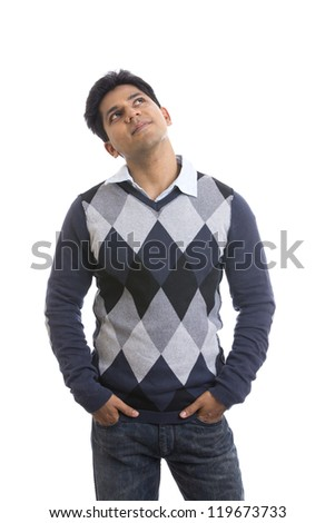 Indian handsome young man posing on white background. - stock photo