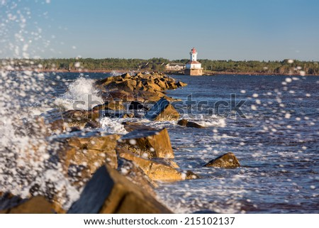 Indian Head Lighthouse at the mouth of the harbor in Summerside, Prince Edward Island, Canada. - stock photo
