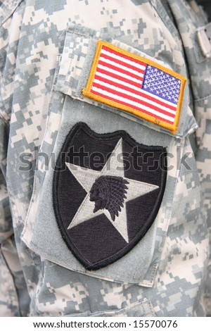 Indian Head patch of the 2nd Infantry Division of the US Army - stock photo