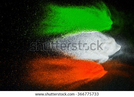 Indian Independence Day celebration background. Symbolic flag colors on dark background. - stock photo