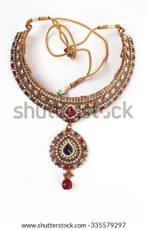indian jewellery necklace  - stock photo