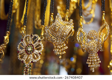 Indian jewelry Store in Delhi - stock photo