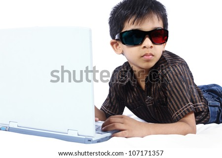 Indian Little Boy With Laptop - stock photo