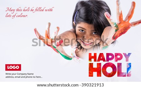indian little girl with colours in palm wishing happy holi, small indian girl wishing happy holi, holi greeting, happy holi greeting with 4 years old indian cute girl with colourful palm - stock photo