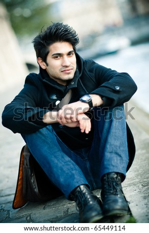indian man outside - stock photo