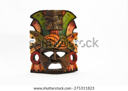Indian Mayan Aztec wooden mask with anaconda and jaguar isolated on white background (presentation layout) - stock photo