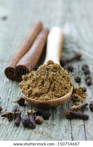 Indian mix of ground spices garam masala - stock photo