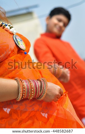 Indian mother and child bonding in  traditional Indian ethnic dress  - stock photo
