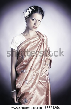 Indian national dress. Woman in asian clothes fashion portrait - stock photo