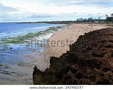 Indian ocean coast. The beach. People walk along the shore. Africa, Mozambique. - stock photo