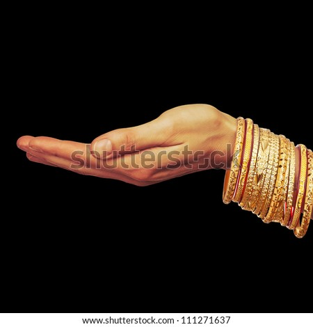 indian-palm with bangle - stock photo