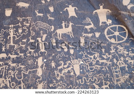 Indian petroglyph in Newspaper Rock, Utah - stock photo