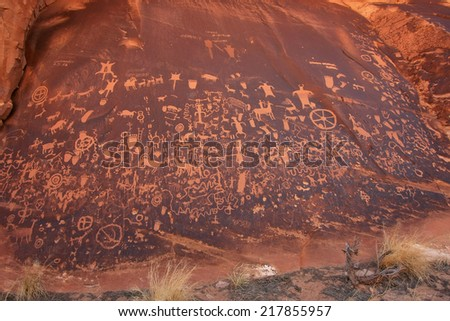 Indian petroglyphs, Newspaper Rock State Historic Monument, Utah - stock photo