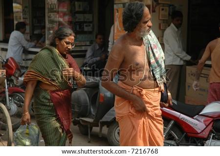Indian pilgrims - stock photo