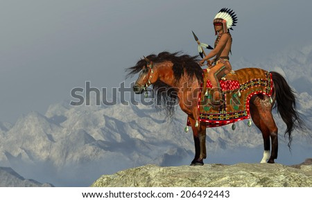 Indian Proud Eagle - An American Indian sits on his Appaloosa horse on a high cliff in a desert area. - stock photo