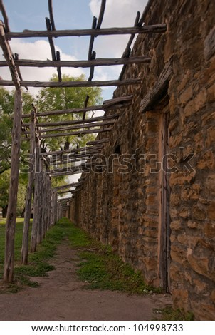 Indian quarters in San Jose mission in San Antonio, Texas - stock photo