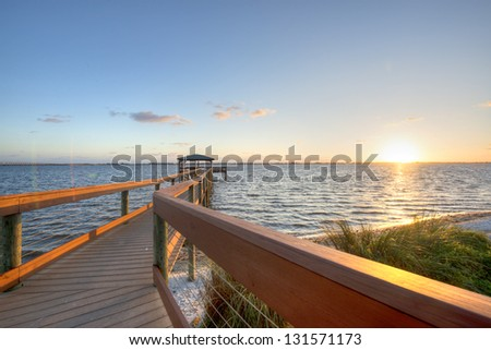 Indian River in Melbourne, Florida at Sunrise. - stock photo