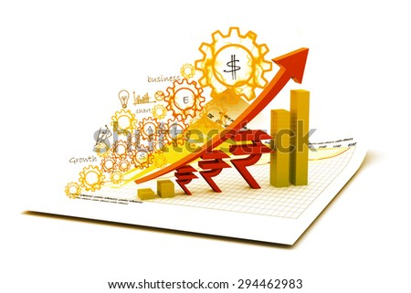 Indian rupee  growth chart - stock photo