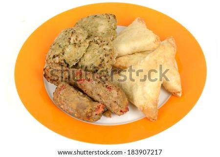 Indian Samosa Snack Food - stock photo