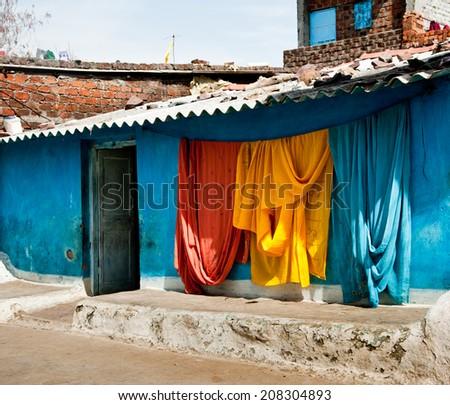 indian silk cloths - stock photo
