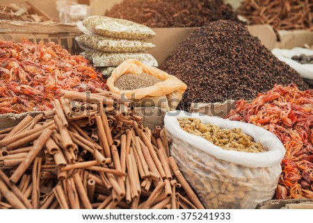 Indian spice market in Kerala, Alleppey - stock photo