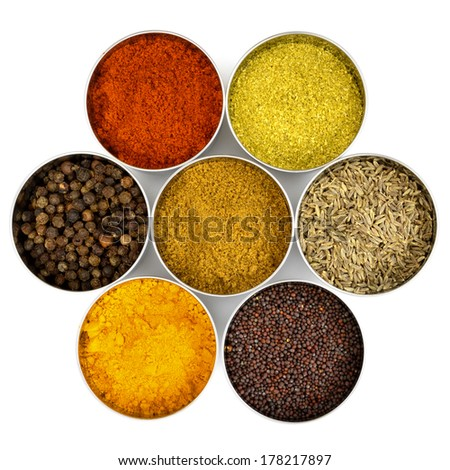 Indian spices in little stainless-steel bowls. - stock photo