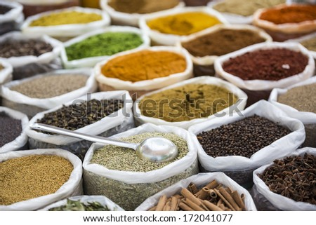 Indian spices in white sacks with scoop. - stock photo