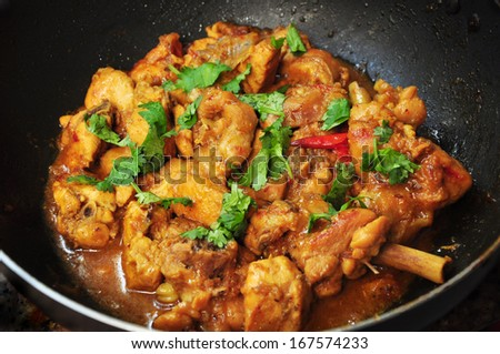 Indian spicy chicken curry - stock photo