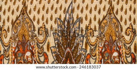 Indian style fabric close up background. - stock photo