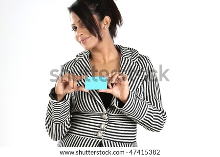 Indian teenage girl with  blue card - stock photo