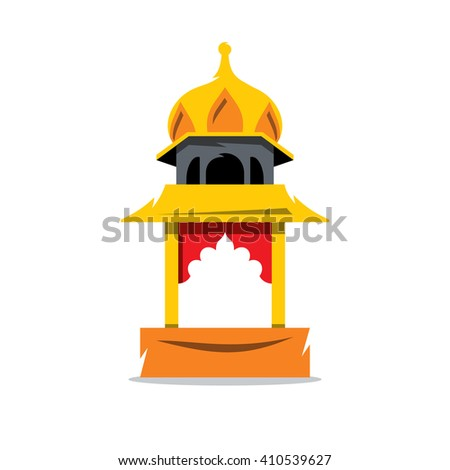 Indian Temple with arch Cartoon Illustration. The building in Indian style Isolated on a White Background - stock photo