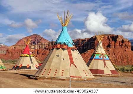 Indian tents decorated with ornaments - stock photo