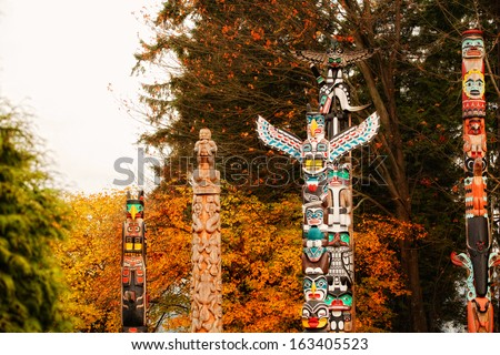 Indian totems in Vancouver - stock photo