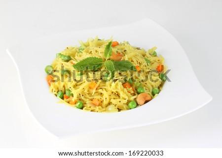 indian Vegetarian food called semiya upma  - stock photo