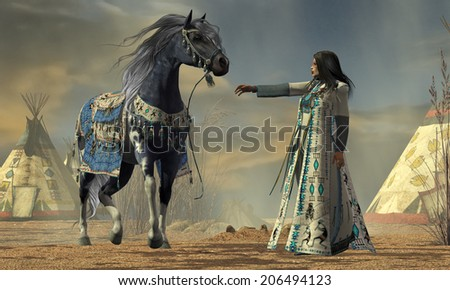 Indian White Cloud - White Cloud tries to calm her horse in an American Indian camp full of teepees. - stock photo