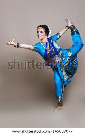 Indian woman dancing in classic suit Kuchipudi - stock photo