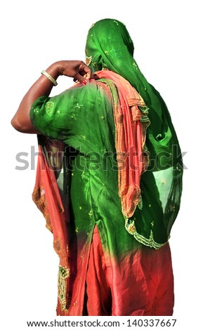 Indian woman in traditional dress, isolated on white background - stock photo